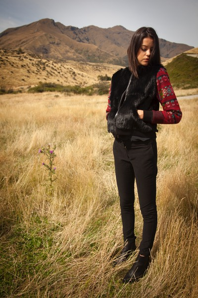 Burmese embroidered sleeves feature on Lapin Burma Bomber jacket shot on location in Wanaka NZ