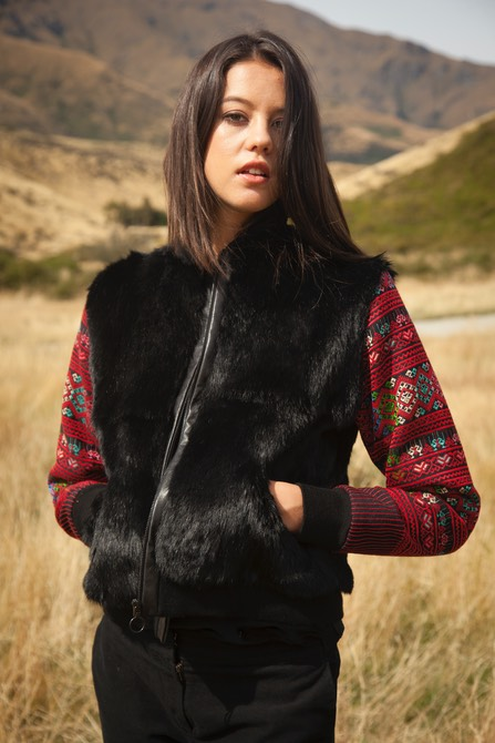 Lapin Burma bomber jacket with authentic embroidered sleeves and NZ rabbit fur