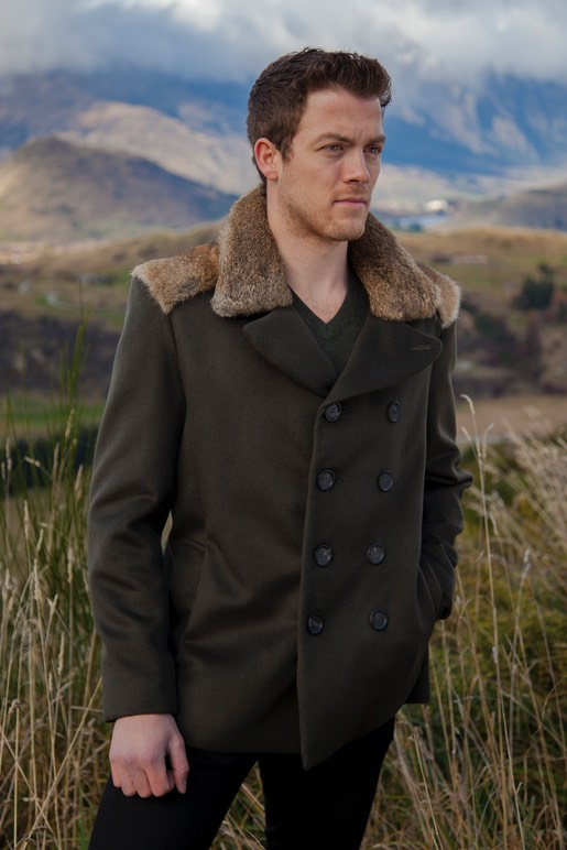 Mens Bespoke Lapin woolen Khaki Pea Coat with New Zealand Wild Rabbit Eco Fur collar and shoulder yoke