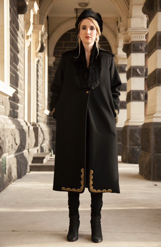 Lapin Long Black winter coat with Kinari brocade and NZ rabbit fur