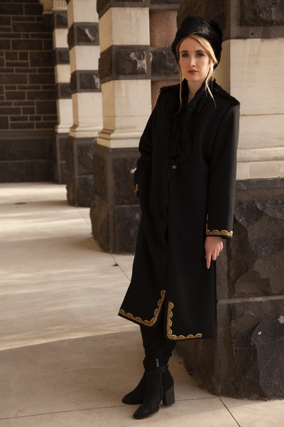 Gold and pearl braid gives this more austere style Lapin Long Black coat some bling factor
