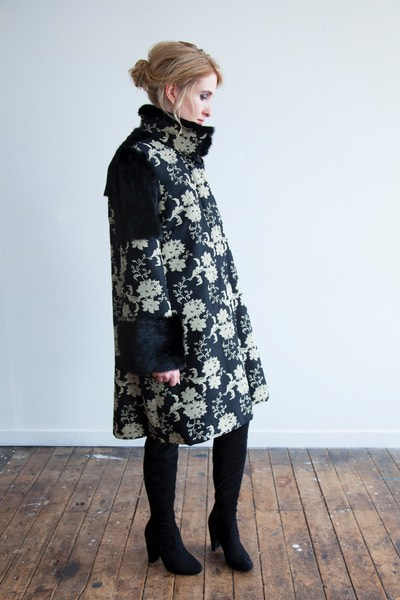 Swing style embroidered cotton Lapin Pixel Rose coat with NZ rabbit fur side view